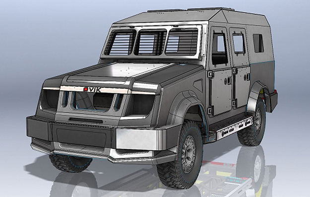 CAD image design of the armoured vehicle