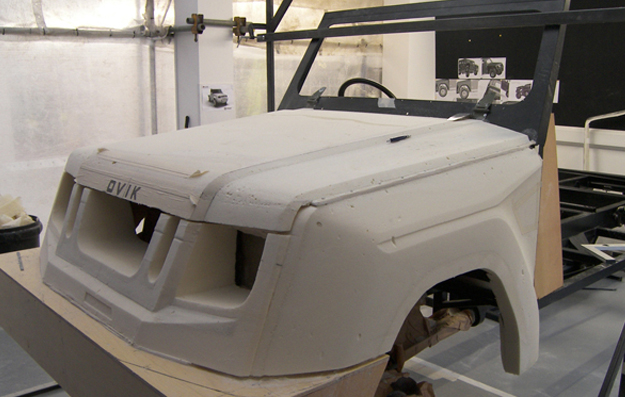 scale mock up of the armoured vehicle